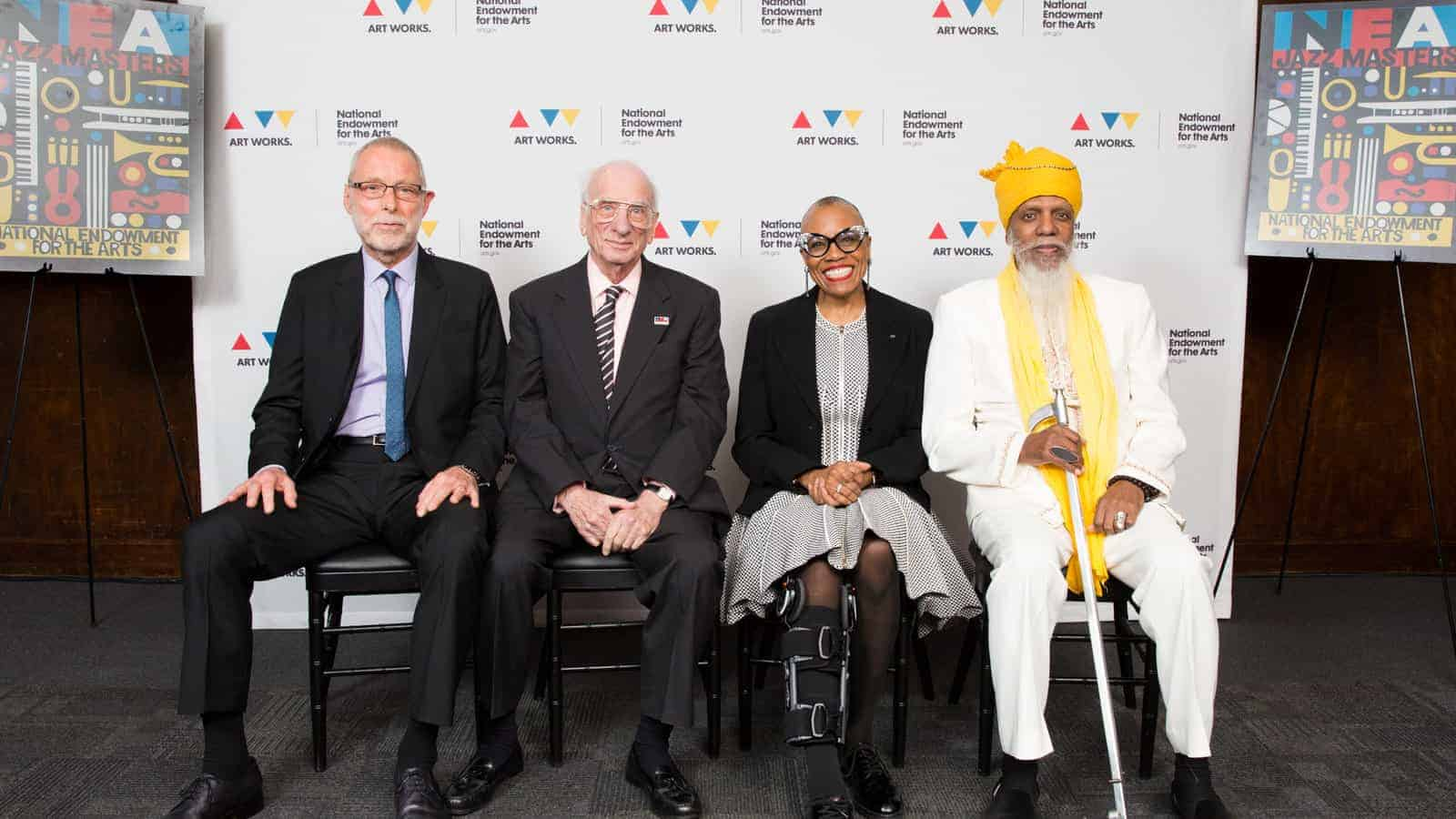 2017 NEA Jazz Masters Dave Holland, Dick Hyman, Dee Dee Bridgewater, and Dr. Lonnie Smith (not pictured: Ira Gitler)