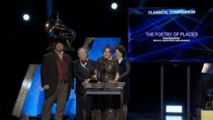 [L-R] Barry Werger-Gottesman, Victor Ledin, Nadia Shpachenko, and Marina A. Ledin accepting their Classical Compendium GRAMMY® Award